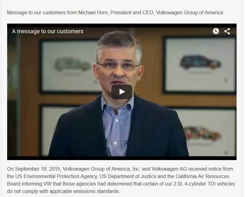Message from Volkswagen's CEO