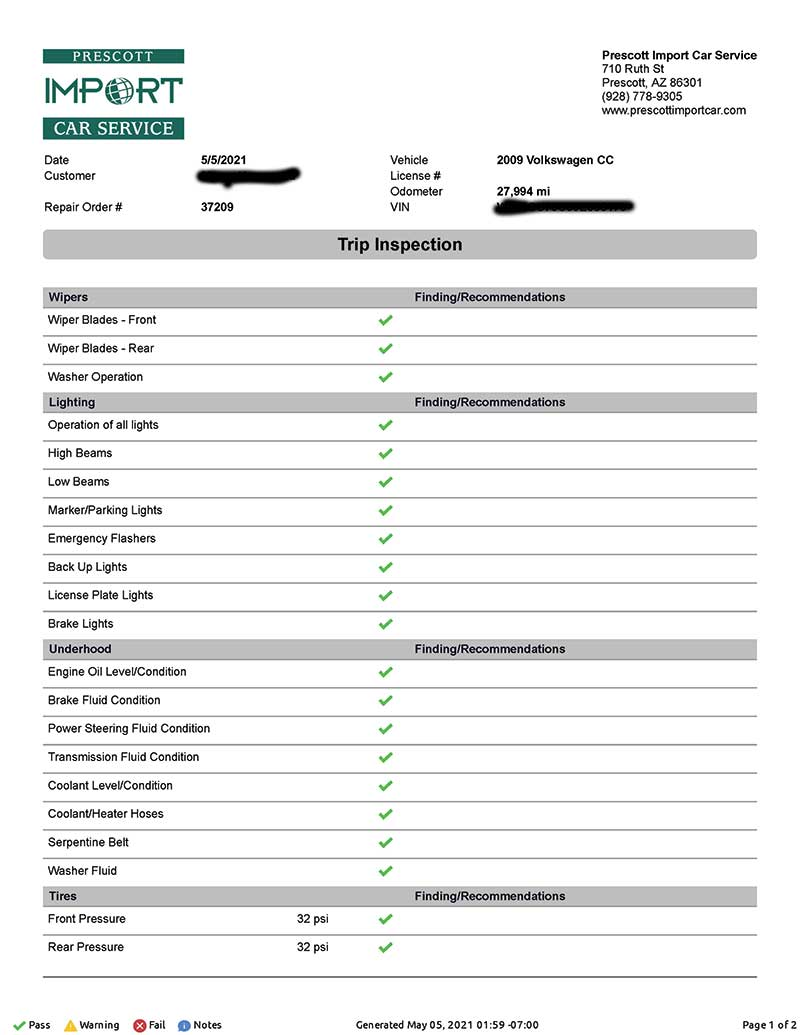 Completed Inspection Sheet